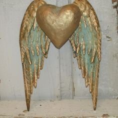 Distressed metal angel wings with heart wall by AnitaSperoDesign