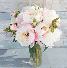 Silk Blush Pink Cream Peonies Arrangement Centerpiece by Wedideas