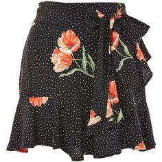TopShop Petite Spot Flower Ruffle Skirt (210 RON) ❤ liked on Polyvore featuring skirts, mini skirts, black, floral skirt, short skirts, flower print skirt, floral printed skirt and floral print skirt