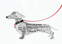 Typographic Dachshund in the '. poster by from collection. By buying 1 Displate, you plant 1 tree.