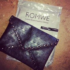 Skull Texture Black Clutch #Romwe