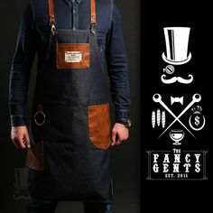 FancyGents custom made aprons are perfectly handcrafted using only high quality materials. Purpose is to provide a personal standout style with flawless fit Bartender Uniform, Mobile Barber, Barber Logo, Barber Shop Quartet, Barber Apron, Towel Apron, Barber Shop Decor, Master Barber, Custom Aprons