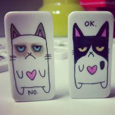 Grumpy Kittinoe Magnets (2 Pack): Geek Love Designer Domino Art