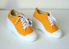 5ba5e6421f7 Items similar to 90s Yellow Canvas Platform Lace Up Sneakers w  White  Rubber Wedge Heel   Women s Eu 38 Uk 5 Us 7 on Etsy