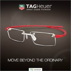 Move beyond the ordinary with world's first hinge-less #eyewear from TAG Heuer.This light weight and stylish beauty with minimum components is easy to wear and comfortable at all times. Buy Tag Heuer's Hinge-less #eyeglasses with red temples here http://www.lenskart.com/tag-heuer-reflex-3110-16-eyeglasses.html