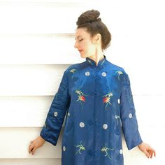 Chinese Jacket// Royal Blue Satin// Asian Jacket// by AstralBoutique, $38.00