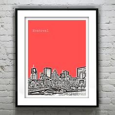 Montreal Poster Art Skyline Print  Quebec by AnInspiredImage, $19.00