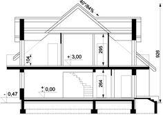 Przekrój ARD Kasztan 2 paliwo stałe CE Design Case, Window Design, Malaga, My House, Villa, Floor Plans, Flooring, How To Plan, Arquitetura
