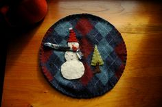 Wool trivet  Snowman and an evergreen by LittleWool on Etsy