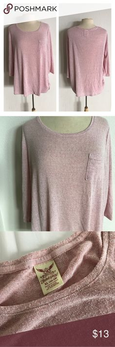 """Faded Glory sheer pink top Faded Glory sheer pink top. Size XL (FG size 16/18). True to 16/18 size. Feels like a cross between a lightweight sweater and a top. Pre-pilled look. Very stretchy. Sheer. Measures 28"""" long with a 44"""" bust. Very good used condition.  💲Reasonable offers accepted ✅Bundle offers Faded Glory Tops"""