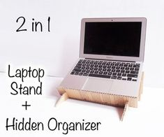This laptop stand is completely made out of cardboard and has a useful organizer that gets hidden once the laptop is placed on top of it. It's perfect to store al. Cardboard Organizer, Diy Cardboard, Diy Arts And Crafts, Diy Craft Projects, Craft Ideas, Diy Crafts, Diy Laptop Stand, Tablet Stand, Wood Supply