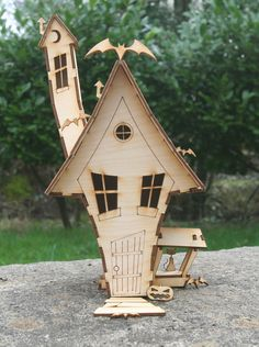 Laser cut plywood wooden Toon Haunted house model Kit - ordered TWO of them!!!
