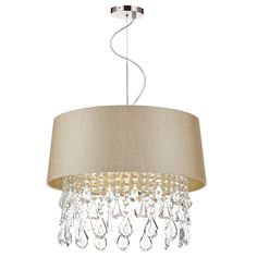 Geraldine 1 Light Pendant in Taupe & Crystal Luxe Crystal pendant with Taupe shaded surround Supplied with of Cable. F Marked Double Insulated Height adjustable at point of installation 1 x Candle Lamps not included Height min - max Diameter BRAND: Dar Drum Pendant, Ceiling Pendant, Crystal Pendant, Pendant Lighting, Chandelier, Ceiling Lights, Light Pendant, Lighting Bugs, Dar Lighting
