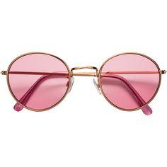 H&M Sunglasses $4.99 (18 PLN) ❤ liked on Polyvore featuring accessories, eyewear, sunglasses, glasses, uv protection sunglasses, pink sunglasses, metal frame glasses, uv protection glasses and pink glasses