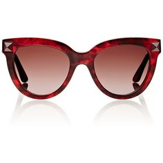Valentino Women's Studded Cat-Eye Sunglasses ($199) ❤ liked on Polyvore featuring accessories, eyewear, sunglasses, glasses, occhiali, valentino, multi, tortoise shell sunglasses, studded sunglasses and valentino sunglasses