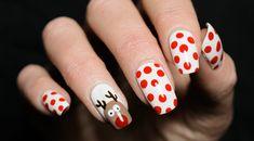 Idee für winterliche Maniküre, Rudolph mit der roten Nase auf weißem Grund, rote Punkte, eckige Nagelform French Nails, Nail Design, Make Up, Nail Art, Blog, Beauty, Red Dots, Red Nose, One Color Nails