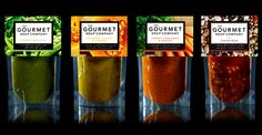 The Gourmet Soup Company. I like how this lets you see the product. I also like how the original ingredients are shown in a photograph around the label, like a background image. Very smart design. Food Branding, Food Packaging Design, Packaging Design Inspiration, Brand Packaging, Packaging Ideas, Biscuits Packaging, Baking Packaging, Spices Packaging, Soup Company