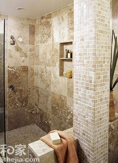Mix of tile sizes - walk in shower