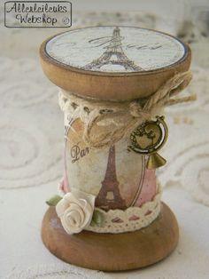 Inspiratie *online te bekijken* Brocante houten klos Paris - www.allerleileuks.nl