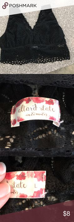 Altar'd State Bralette Balck, lace. Size large. Bust aprox 12 inches (unstretched) with elastic. Altar'd State Intimates & Sleepwear Bras