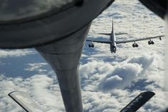 A KC-135 Stratotanker prepares to refuel a B-52 Stratofortress Oct. 30, 2016, near Fairchild Air Force Base, Wash. Two B-52s were refueled during the mission. (U.S. Air Force photo/Tech. Sgt. Travis Edwards)
