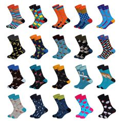 Men's Socks Mens Colorful Argyle Striped Business Dress Socks Funky Novelty Men Stripes Cotton Long Sock Eu 38-43 Lustrous