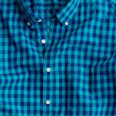 Slim Secret Wash shirt in Caribbean blue Van Buren gingham
