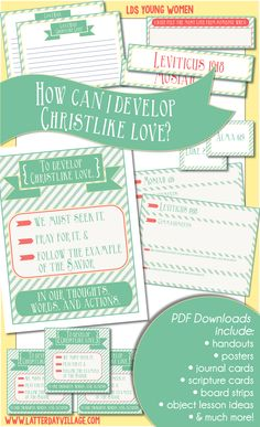 """October LDS YW lesson aids for """"How can I develop Christlike love?"""" Need extra help or inspiration for your Come, Follow Me Young Women lessons? Check out www.LatterDayVillage.com!"""