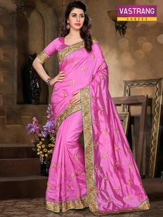 Pink Pure Silk saree with embroidery work & Pure Silk blouse