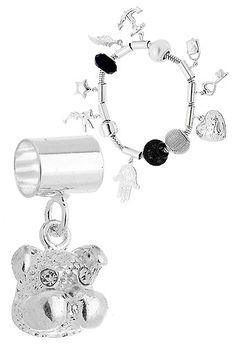 Berloque folheado a prata em forma de cachorro c/ pedrinhas (Pandora inspired)
