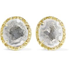 Kimberly McDonald 18-karat gold, geode and diamond earrings (589730 RSD) ❤ liked on Polyvore featuring jewelry, earrings, diamond earrings, sparkly earrings, post back earring, kimberly mcdonald jewelry and diamond earring jewelry