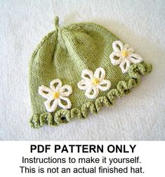 Knit Hat Knitting Pattern - Girls Hat Pattern - Womens Knitted Hat Pattern - the DAISY Hat (Newborn Baby Toddler Child & Adult sizes incl'd)