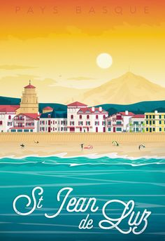 Ville France, Biarritz, Basque Country, Surf Art, Vintage Travel Posters, Travel Destinations, Surfing, Places To Visit, Around The Worlds