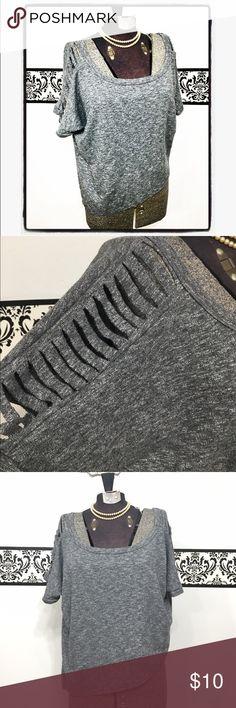 Flashdance Shredded Punk Asymmetrical Sweatshirt Lightweight grey sweatshirt with shredded sleeves and asymmetrical cut. On the shorter side- almost a crop top Double Zero Tops Sweatshirts & Hoodies
