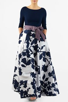 A vintage silhouette goes modern with our mixed media maxi dress, styled with a boat-neck cotton knit bodice and full flare polydupioni skirt with floral print all over. Plus Size Dresses, Cute Dresses, Beautiful Dresses, Casual Dresses, Formal Dresses, Modest Fashion, Fashion Dresses, Women's Fashion, Fashion Clothes