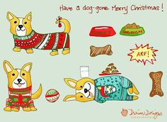 SALE Christmas Corgi clip art commercial use, gingerbread dog treats clipart, doggy red and green holiday dog sweaters instant download