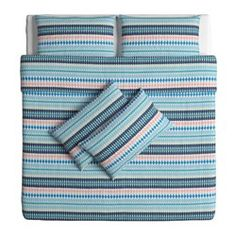 IKEA - MOSSFLOX, Quilt cover and 4 pillowcases, 240x220/50x80 cm, , Cotton, feels soft and nice against your skin.Concealed press studs keep the quilt in place.