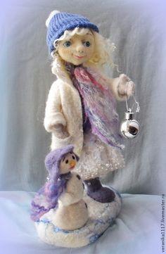 """Купить Авторская кукла из шерсти """"Снежный Ангел"""" - белый, ангел, рождество, Снег, валяная кукла"""