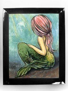 Pink Mermaid Art, 8x10 Print, Fairy Tale Artwork, 8x10 Wall Decor, Green Fish Tail, Portrait Illustration, Pink Hair