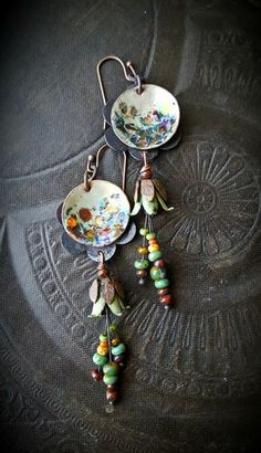 Flowers, Enamel Earrings, Torched Enamel, Vintage, Flowers, Artisan Made, Earthy, Organic, Beaded Earring