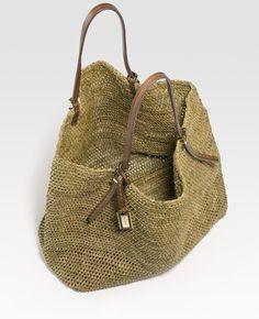 Michael Kors Raffia Tote Bag in Brown (walnut) - Lyst
