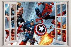 Marvel Super Heroes 3D Window View Decal WALL STICKER Decor Art Avengers H82 | Home, Furniture & DIY, Home Decor, Wall Decals & Stickers | eBay!