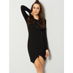 Black Long Sleeve Bodycon Dress (€15) ❤ liked on Polyvore featuring dresses, black, bodycon dress, round neck dress, reversible dress, long sleeve dress and longsleeve dress