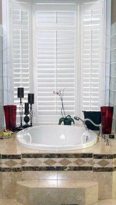 Shutters Corner Bathtub, Shutters, Bathroom, Sunroom Blinds, Bath Room, Shades, Bathrooms, Bath, Bathing