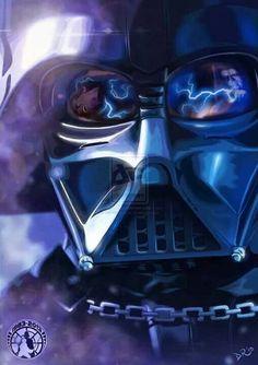 Darth Vader with the Emperor using Force Lightning on Luke Skywalker in the reflection - Star Wars Episode VI: Return of the Jedi