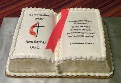confirmation cakes for boys Anniversary Cake Designs, Anniversary Cakes, Bible Cake, Religious Cakes, Confirmation Cakes, Book Cakes, Reception Food, Occasion Cakes, Cakes For Boys
