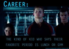 Career: The kind of kid who says their favorite period is lunch or gym. {haha!}  The Hunger Games