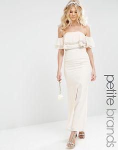 TFNC Petite WEDDING Off Shoulder Maxi Dress With Embellishment
