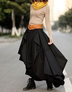 Winter skirt / black irregular the woolen skirts / by dreamyil, $108.00