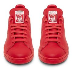 Raf Simons X Adidas Originals Stan Smith Red Low Top Sneaker ($480) ❤ liked on Polyvore featuring shoes, sneakers, adidas, shoes sneakers, red shoes, adidas shoes, adidas sneakers, adidas trainers and red sneakers